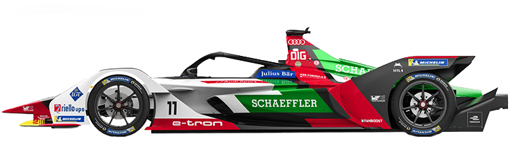 Formula E Generation 2 electric racing car number 11 with ABT Schaeffler team livery