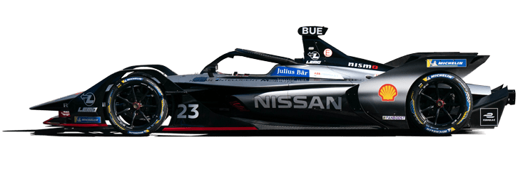 Formula E Generation 2 electric racing car with Nissan e.Dams team livery