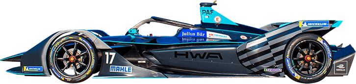 Formula E Generation 2 electric racing car number 17 with HWA Racelab team livery