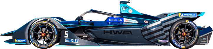 Formula E Generation 2 electric racing car number 5 with HWA Racelab team livery