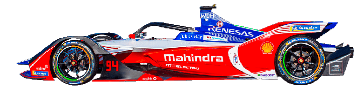 Formula E Generation 2 electric racing car number 94 with Mahindra team livery