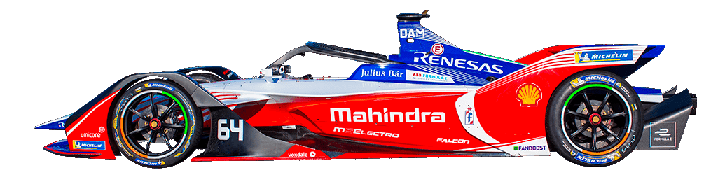 Formula E Generation 2 electric racing car number 64 with Mahindra team livery