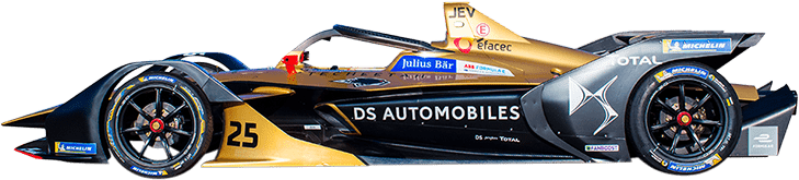 Formula E Generation 2 electric racing car number 25 with DS Techeetah team livery