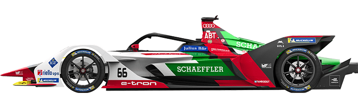 Formula E Generation 2 electric racing car number 66 with ABT Schaeffler team livery