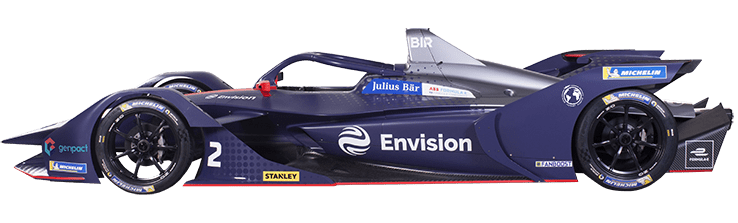 Formula E Generation 2 electric racing car number 2 with Envision team livery