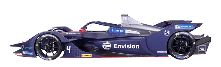 Formula E Generation 2 electric racing car number 4 with Envision team livery