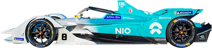 Formula E Generation two electric racing car number 8 with NIO team livery