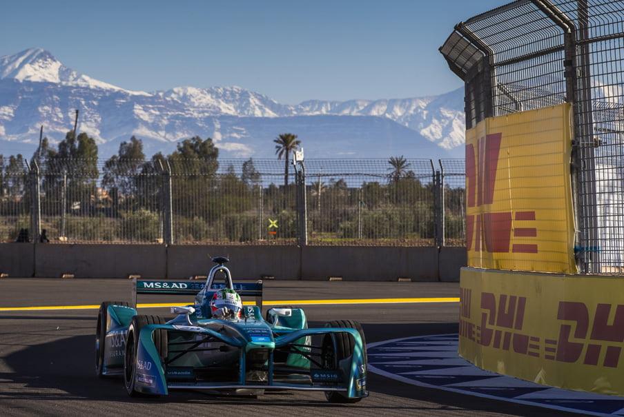 a Formula E electric street racing car on the track