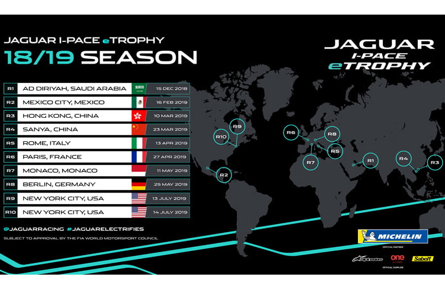 calendar showing when the Jaguar etrophy races will take place