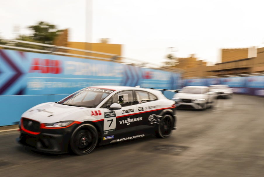 Jaguar i-Pace electric cars race in the Jaguar eTrophy support series to Formula E