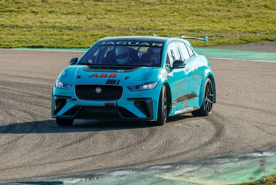 a Jaguar I-Pace racing car on the track