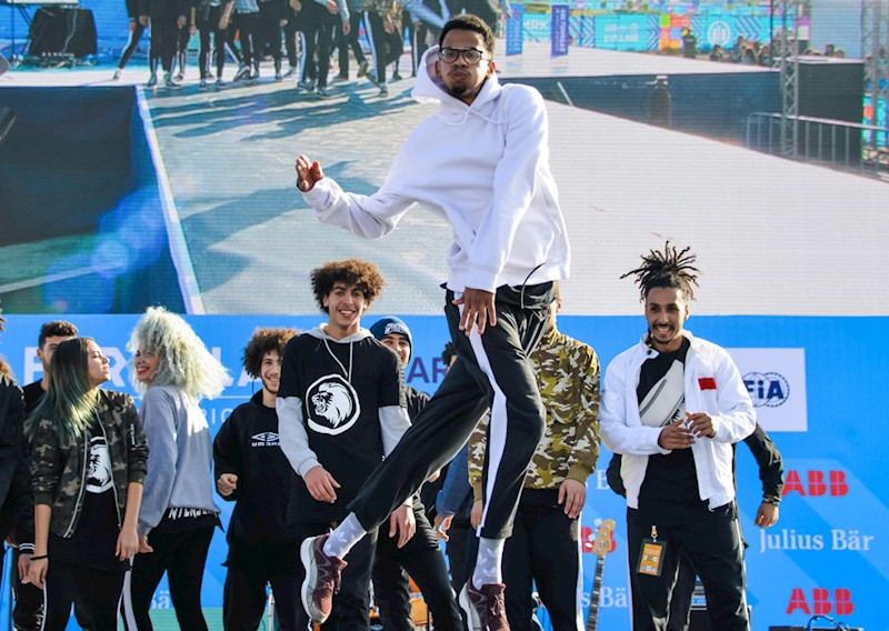 dancers at the Allianz E-Village at the Marrakesh E-Prix 2018