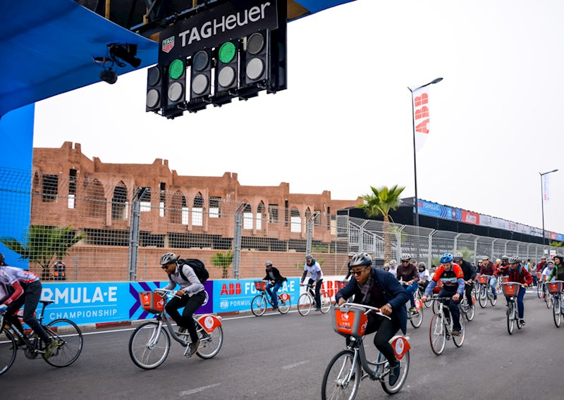 cyclists at the Marrakesh E-Prix 2018
