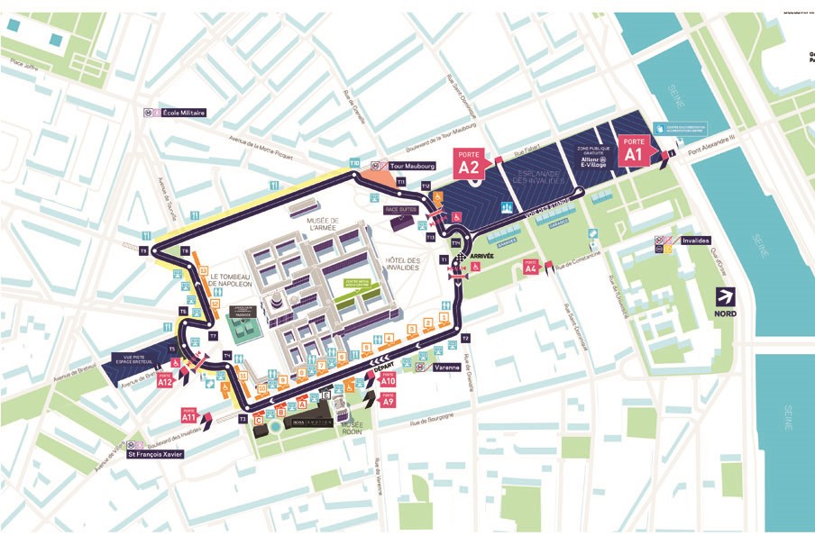 map illustration of where the Paris E-Prix track will be situated