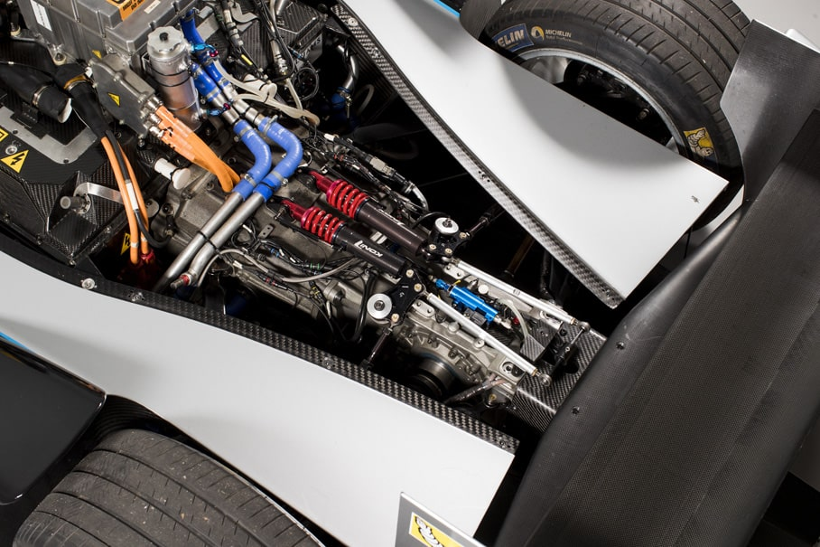close up of the motor of a Formula E Generation 1 racing car