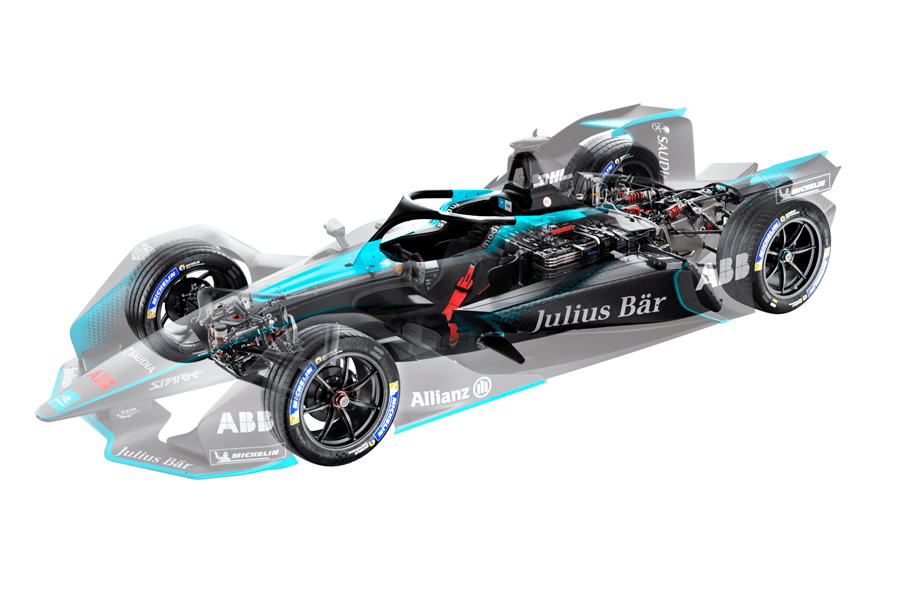a gen2 formula e car powertrain
