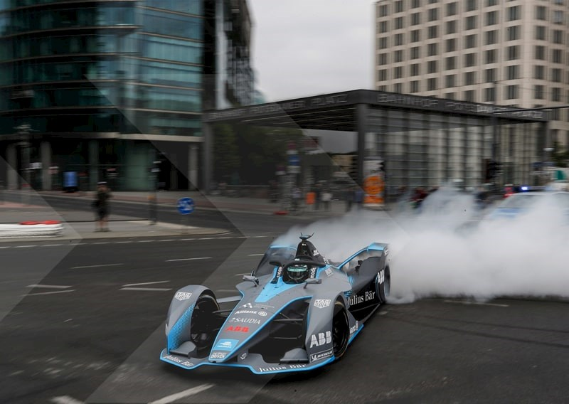 A Formula E Electric Racing Car Driving Around Berlin
