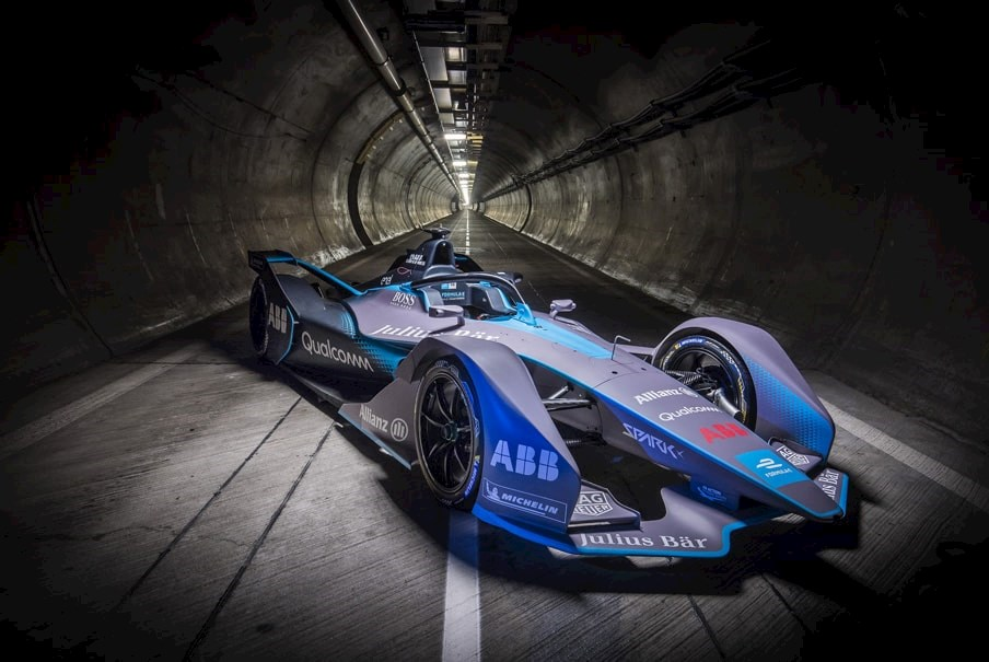 a second generation Formula E electric racing car in the Channel Tunnel