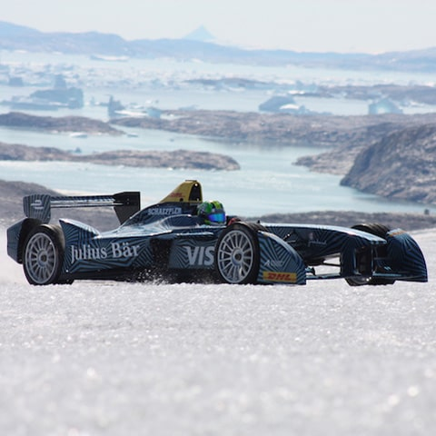 a Formula E electric racing car at the ice caps