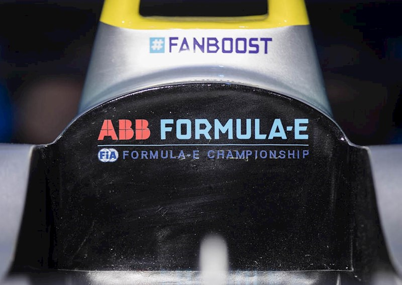 a close up of an ABB branded Generation 1 Formula E racing car