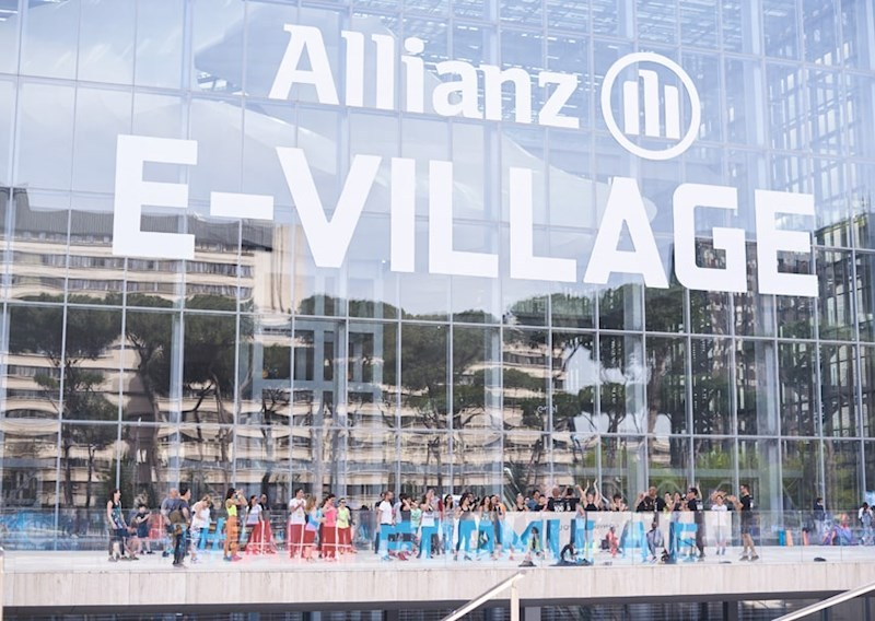 glass entrance to the Allianz E-Village at the 2018 Rome E-Prix