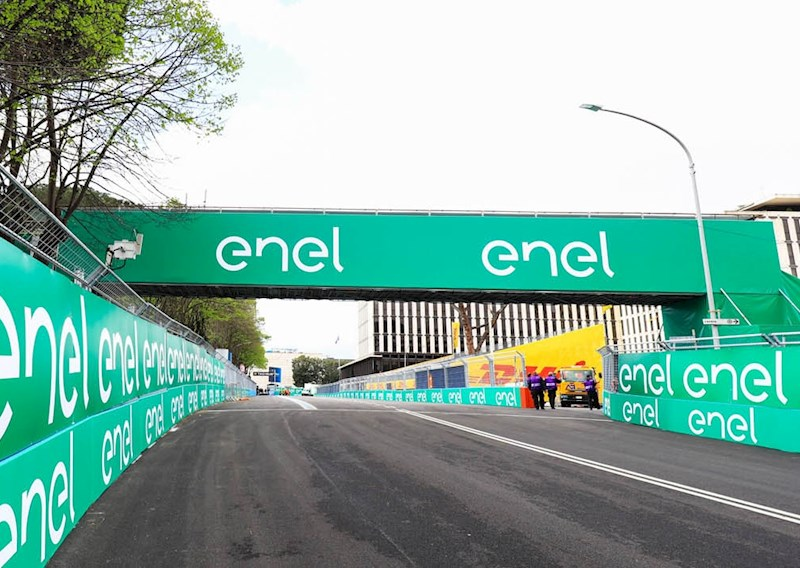 Enel banners around the racing track at a Formula E E-Prix