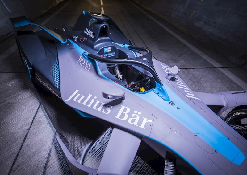 the logo of Swiss bank Julius Baer on a Generation 2 Formula E racing car