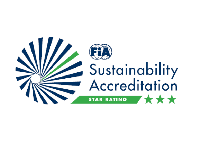 blue and green logo of the fia environmental certification framework