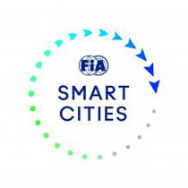 green and blue logo of the fia smart cities program