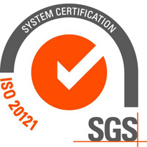grey and orange logo for the iso20121 certification program