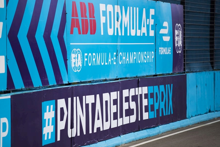 trackside branding at a Formula E race