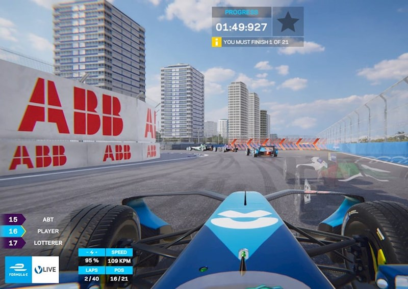 A screenshot of the live ghost racing app showing Formula E cars in action - work in progress