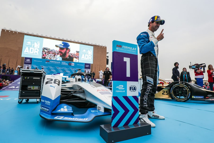 da costa on the winners podium at the Saudia Ad Diriyah 2018 E-Prix