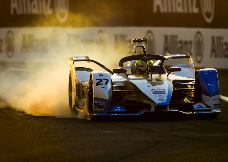 formule e bmw car locks up in marrakesh