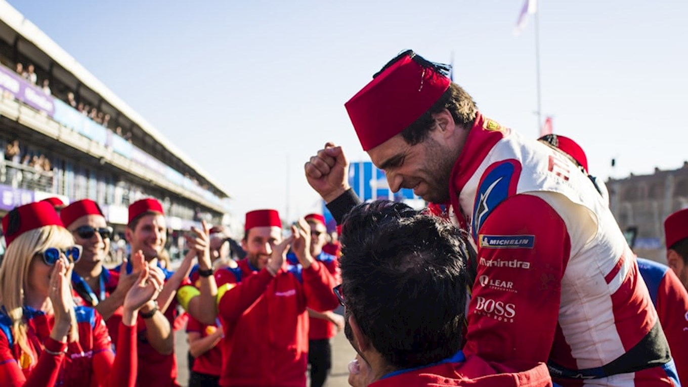 jerome d'ambrosio celebrates in the pit lane at the marrakesh e-prix